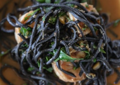Black Squid Ink Chitarra & Herbed Kauai Shrimp